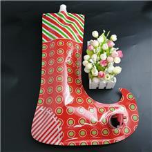 袜子形状圣诞节特殊定制耐高温抗摔饮料包装阀门袋 热封饮品蝴蝶阀吸嘴液体包装袋