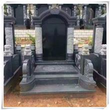 农村土葬黑色墓碑石碑 陵园中式墓碑墓群 定制大型组合家族套碑