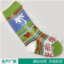 欧美出口-绿色提花圣诞袜 圣诞节装饰用品袜 礼物袋挂件袜礼品袋装饰袜子