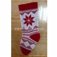 圣诞老人红色毛线袜雪花提花针织毛线袜圣诞绿袜子装饰圣诞红白袜