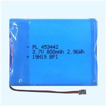 智能音响锂电池453442-800mAh应用于行车记录仪,无线监控设备,GPS定位器