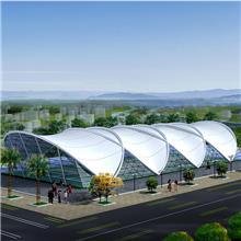 冒顶型膜结构停车棚小区户外钢结构雨棚防晒汽车遮阳棚张拉膜景观