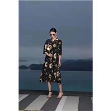 粉黛丽人真丝连衣裙  2020新款连衣裙  线品牌女装尾货 市场服装一手货源