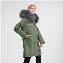 秋冬新款  女式棉衣  军绿派克大衣  真獭兔毛保暖皮草外套