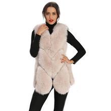 秋冬马甲女整皮狐狸毛皮草 时尚显瘦无袖毛毛外套短款 一件代发