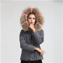 欧美外贸原单批发 奶奶灰冬季保暖棉服 新品短款派克服皮草外套