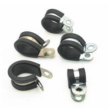 橡胶减震卡箍 铁镀锌R型连胶条电线电缆卡夹子 天津明哲紧固件直销