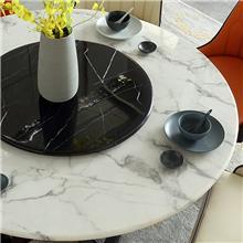 转盘轻奢圆形餐桌椅 大理石现代餐桌椅多少钱