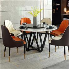 简约大理石餐桌椅有哪些 港式转盘实木餐桌椅