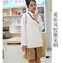 厂家定制学生校服  英伦风套装  秋季针织衫马甲  学生班服毛背心
