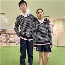 厂家定制校服套装  秋季新款毛衣  英伦风针织衫外套  学生班服 礼服加工