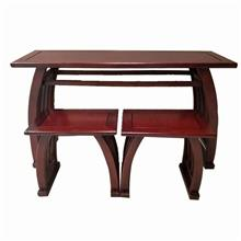 厂家直销 马鞍桌 红木色马鞍桌 学校家具