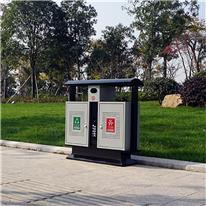 户外双桶垃圾桶 镀锌板垃圾桶 环卫分类垃圾桶 大量现货