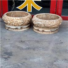 厂家直供 花岗岩仿古花盆 汉白玉仿古花盆 石雕做旧复古鱼缸