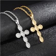 街头潮流时尚创意不锈钢男士十字架项链简约钛钢宗教吊坠配饰批发