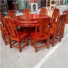 北方老榆木圆桌厂家 古典实木带转盘圆桌 快餐店实木餐桌 老榆木长型灵芝餐桌 方形八仙桌