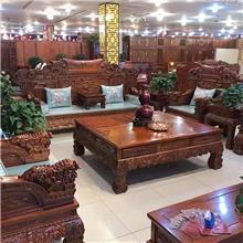 佳美仿古实木沙发 大小户型别墅客厅沙发 战国沙发六件套 百狮沙发 明清古典沙发套装