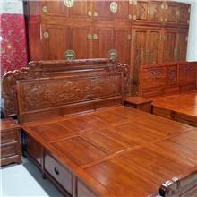 河北老榆木床 1.8米双人床 储物高箱床 民宿全实木床 中式雕花箱体床