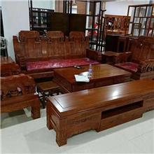 古典实木沙发组合 客厅木质家具沙发 小户型经济沙发套装 财源滚滚沙发 麒麟沙发六件套