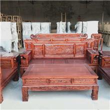 老榆木实木沙发 全实木雕花沙发套装 小户型113位沙发组合 沙发七件套 百狮沙发六件套
