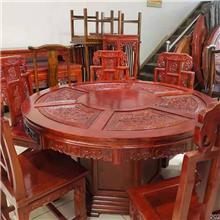 明清仿古圆桌 老榆木圆餐桌 仿古实木灵芝餐桌 酒店圆桌椅 饭店实木转盘圆桌