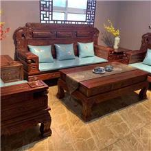 老榆木明清古典沙发 宫廷沙发七件套 客厅全实木沙发套装 麒麟沙发 象头如意沙发