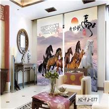 星与辰_中式3D数码印花纱_星级酒店餐厅定制中式布艺窗纱