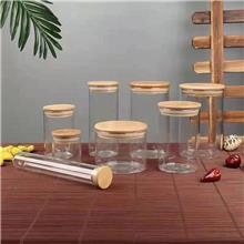 新款布艺玻璃密封储物罐 厨房收纳高硼硅玻璃罐 纯手工锤纹玻璃茶叶罐 优良选材 欢迎来电咨询