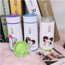 可爱卡通随手杯 韩国情侣玻璃杯 便携带盖学生 牛奶杯 创意家用水杯子
