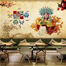 重庆老火锅店墙纸麻辣川味火锅餐厅壁纸中国国粹脸谱头像墙面装饰壁画