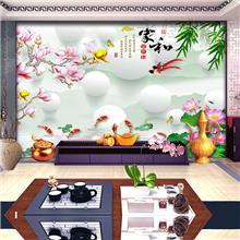 电视背景墙纸壁纸家和富贵竹子影视墙布3d简约现代客厅沙发壁画