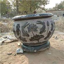 北京养鱼石缸 定制老石槽花盆 现货直销 户外圆石缸装饰