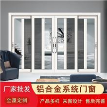 三轨带纱断桥重推门铝合金隔音门窗保温隔热中空钢化玻璃厂家定制
