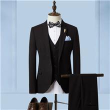 男士休闲西服套装三件套 双排扣小西装修身 青年男装结婚礼服