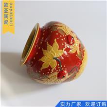 纯手工陶瓷工艺品 鸿运当头摆件 家居装饰客厅摆件 均陶堆花 款式多样