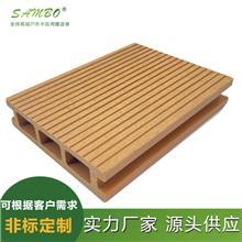深压纹塑木方孔地板 森保塑木 压花木塑圆孔地板 厂家供应户外竹地板