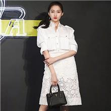 秋装女2021关晓彤明星同款白衬衣蕾丝裙时尚套装
