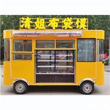 仿古木制小吃车  无动力美食餐车 景区异型观光车 牵引拖挂手推餐车