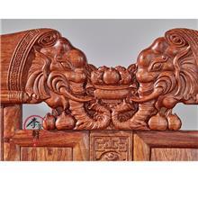 中式实木沙发组合_木莎_包邮_古典榆木仿古红木家具客厅雕花沙发套装
