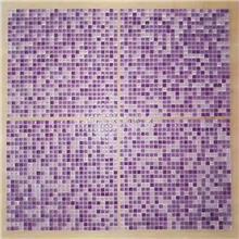 学校背景墙紫色玻璃马赛克 10*10毫米水晶马赛克 厂家定做马赛克拼图