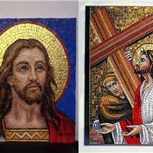 宗教圣徒艺术马赛克剪画 教堂壁画人物马赛克镶嵌