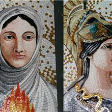 欧美宗教人物马赛克剪画  背景墙教堂圣堂马赛克艺术壁画