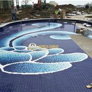 钴蓝色景观池拼花马赛克设计厂家 陶瓷马赛克瓷砖批发