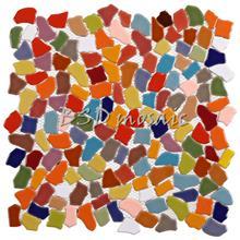 农庄艺术陶瓷碎片马赛克瓷砖 可定制图案logo拼花马赛克