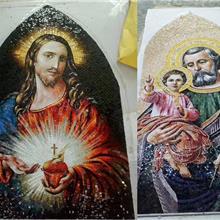 东南亚宗教绘画艺术剪画马赛克 订做背景墙壁画马赛克人物图