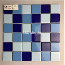 泳池内墙砖批发 蓝色陶瓷马赛克供应商 订做拼花图案马赛克