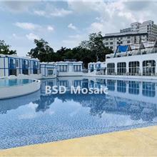 沈阳 游泳池马赛克瓷砖 户外水池陶瓷砖 蓝色48*48mm防滑砖
