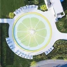 青色 柠檬陶瓷拼图定制 小颗粒马赛克防滑砖 泳池背景墙