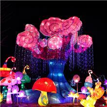 中秋节灯展制作布置厂家提供扇子造型花灯 民间工艺户外景观大小型节日花灯_生产销售基地