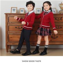 秋冬款学生表演服定制  英伦风校服套装  秋冬款儿童毛衣  针织衫外套加工